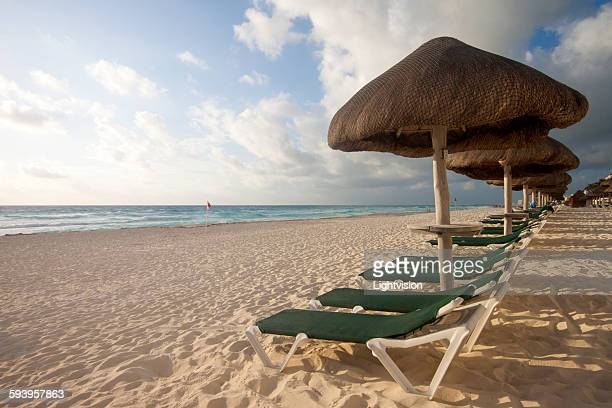 Beach with beach chairs