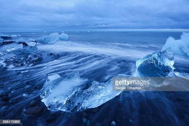 Beach with black sand near Jokulsarlon Lagoon, Iceland