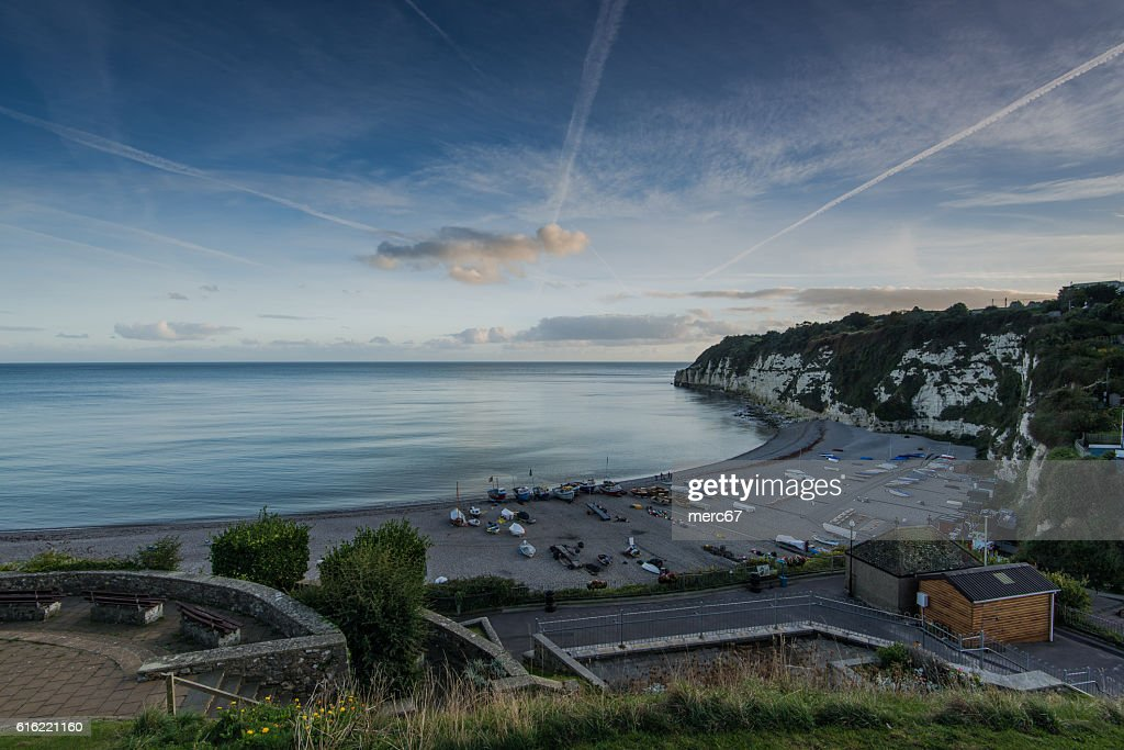 Beach with fisherman boats in Beer, Devon,UK : Stock Photo