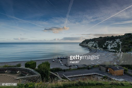 Beach with fisherman boats in Beer, Devon,UK : Foto stock