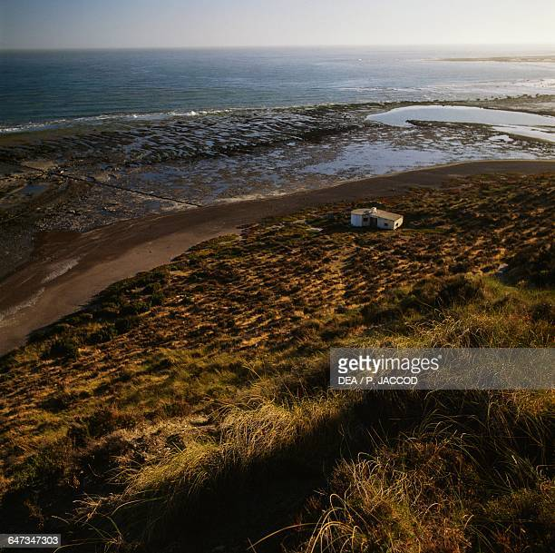 Beach with lagoon near Punta Delgada Peninsula Valdes Chubut province Patagonia Argentina