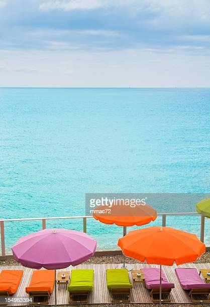 Beach with Parasol in Cassis, France