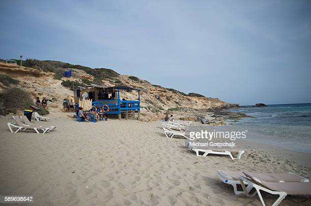 A beach with sunbeds on Formentera island on May 24 2016 in Formentera Spain