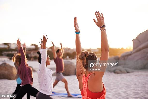 Beach yoga is a full mind, body and soul experience