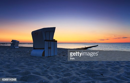 Beachchair on the bach in a very nice sunset