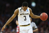J Beachem of the Notre Dame Fighting Irish reacts in the second half against the Wisconsin Badgers during the 2016 NCAA Men's Basketball Tournament...