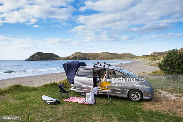 A beachfront campsite on the Coromandel