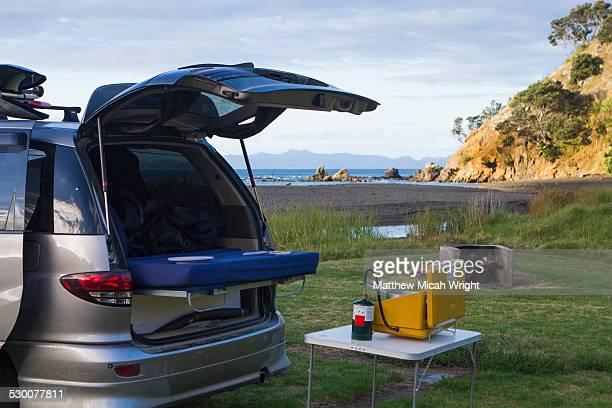 A beachfront campsite on the Coromandel