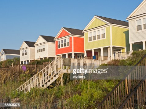 Beachfront vacation cottages in summer