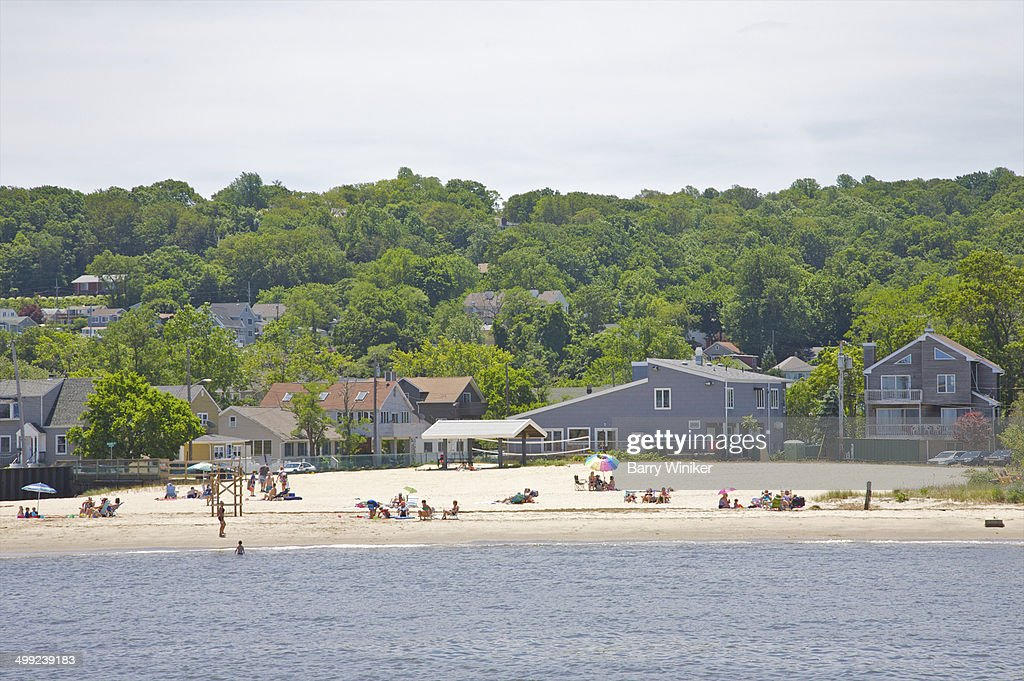 Beachgoers on late spring day
