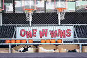 A basketball game sits ready for customers on the boardwalk in Point Pleasant, New Jersey.