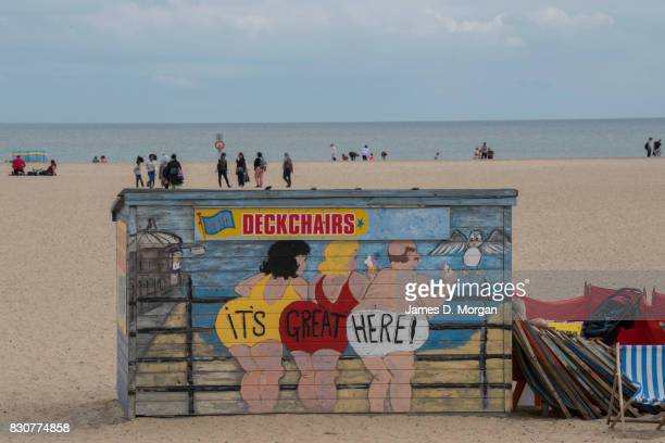 Beachside huts on the sand on August 12 2017 in Great Yarmouth England A cloudy overcast day greeted visitors to the Norfolk seaside town on one of...