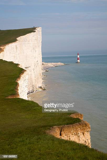 Beachy Head lighthouse and chalk cliffs East Sussex England