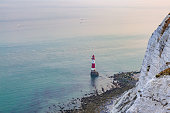 Looking down at the lighthouse, at Beachy Head on the Sussex coast