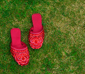 Beaded red shoes on grass