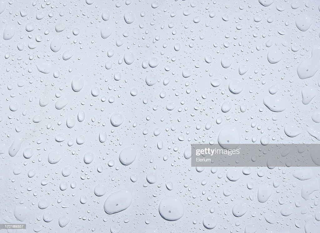 Beaded Water Drops on a White Surface