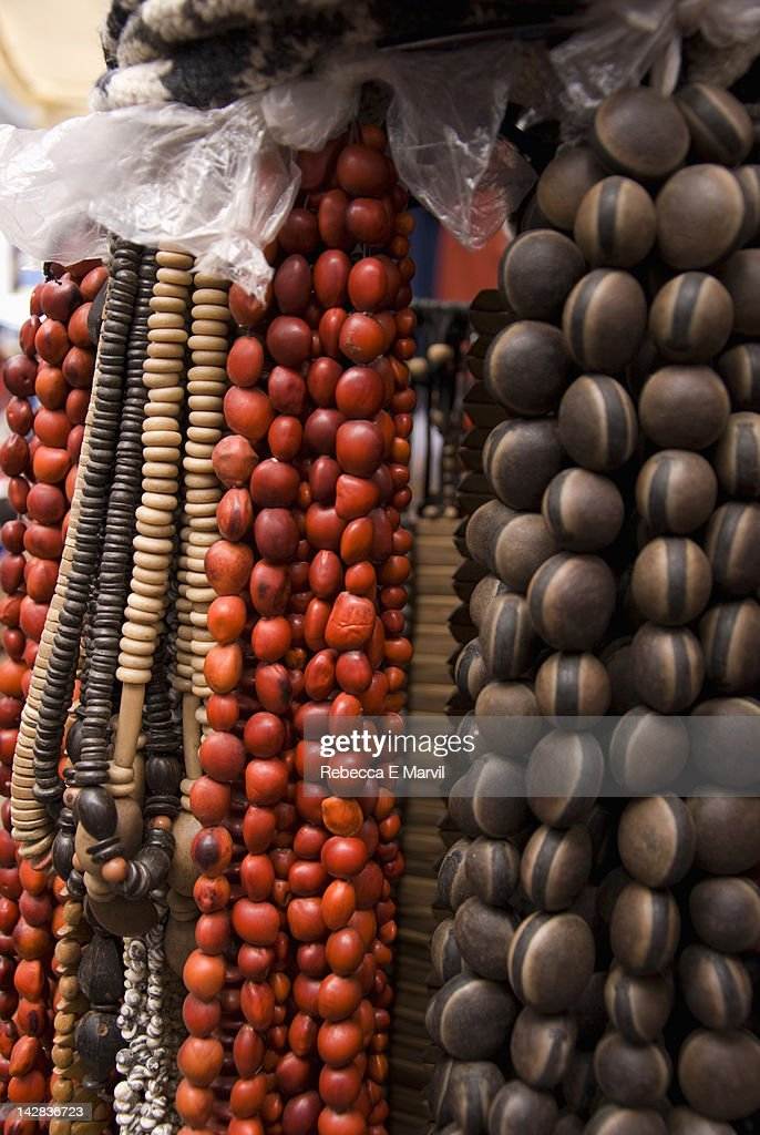 Beads in Pisac market, Peru. : Stock Photo