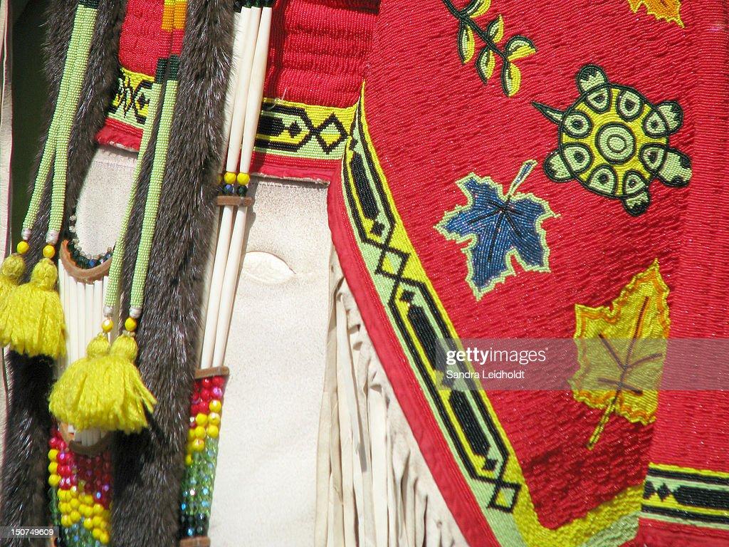 Beadwork on Native American dress : Stock Photo