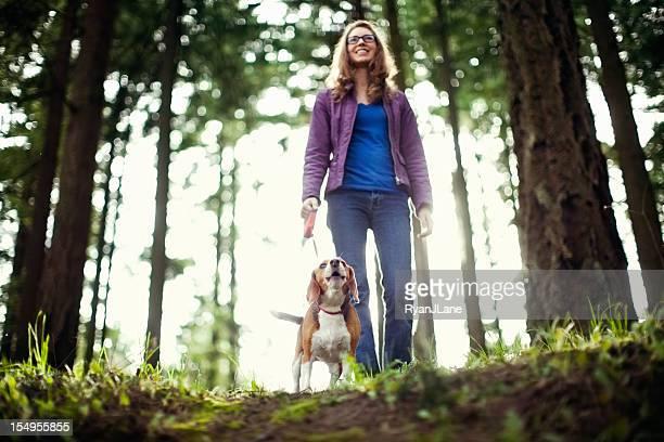 Beagle Uivando no passeio no Parque florestal