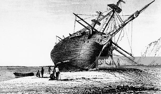 HMS 'Beagle' laid ashore Rio Santa Cruz Patagonia South America 1834 The 'Beagle' commanded by Robert Fitzroy set sail on a 5year voyage around the...