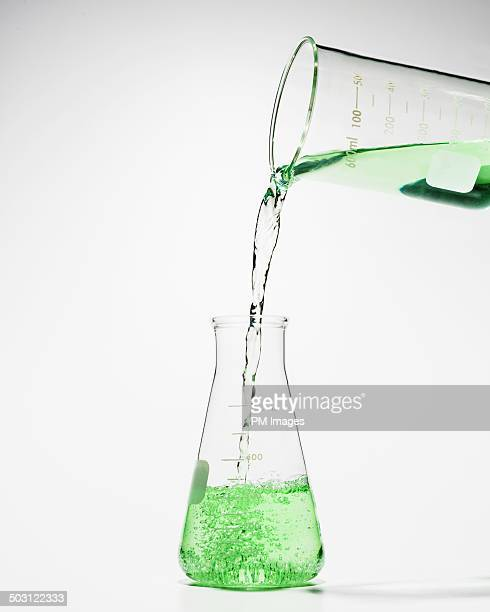 Beaker pouring green liquid into laboratory flask