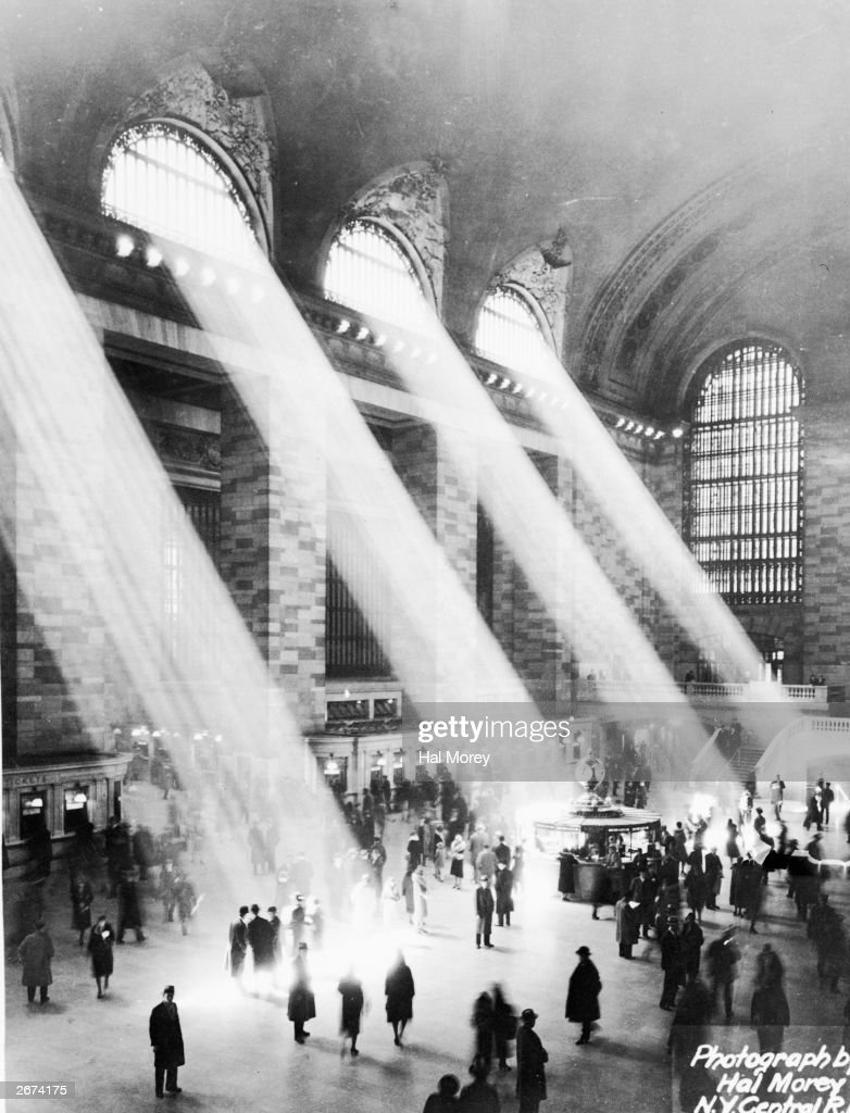 Beams of sunlight streaming through the windows at Grand Central Station New York