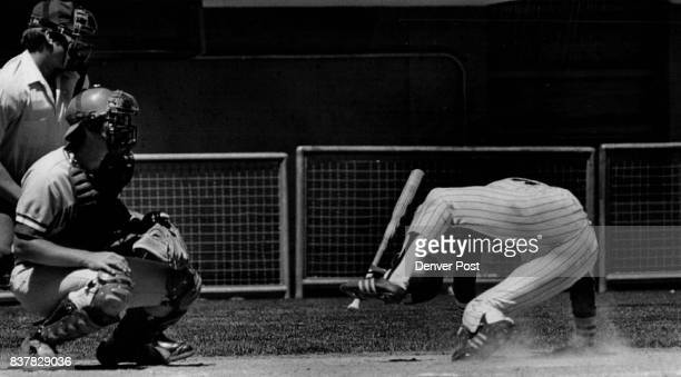 Bean Ball Derails Bears Leonel 'Choo Choo' Carrion Denver batter falls after being struck by pitch of Indianapolis Jay Howell in third inning Sunday...