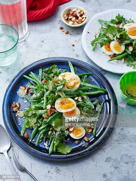 Bean, coriander, egg and almond salad