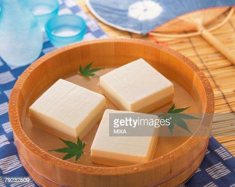 Bean Curd in a bamboo tub : Stock Photo