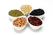 Soy beans, Red beans, black beans, Peanut and green beans of whole grains with the health benefits.