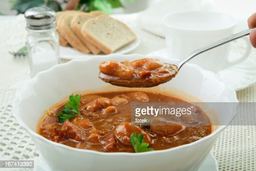Beans in tomato sauce : Stock Photo