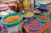 Beans, nuts, corn and seeds at a farmers market in Villarrica, Paraguay, South America