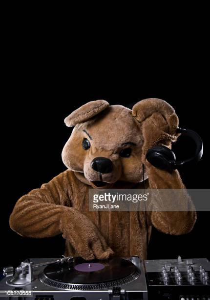 Bear Costume DJ with Turntable and Headphones
