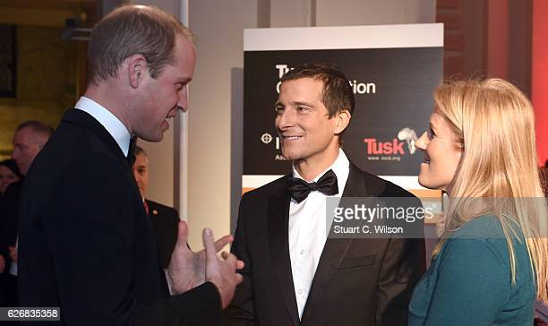 Bear Grylls and Shara Grylls speak with Prince William Duke of Cambridge during the Tusk Trust Awards at Victoria Albert Museum on November 30 2016...