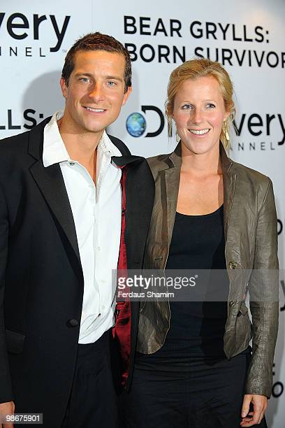Bear Grylls and wife Shara Grylls attend the TV premiere of Bear Grylls Born Survivor at Empire Leicester Square on April 26 2010 in London England