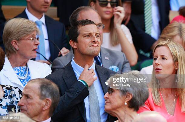Bear Grylls watches on from the Royal Box on Centre Court on day nine of the Wimbledon Lawn Tennis Championships at the All England Lawn Tennis and...