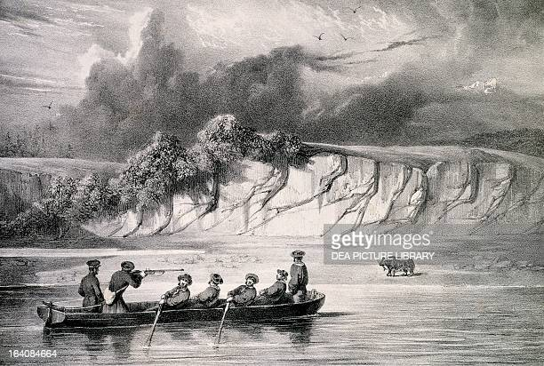 Bear hunting in the bay of Avatsha Kamchatka engraving by Blanchard from Voyage round the world in the frigate Venus 18361839 by Abel Aubert du...