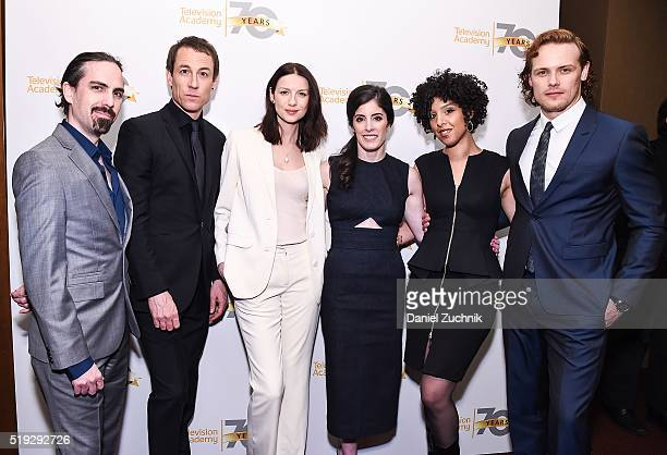 Bear McCreary Tobias Menzies Caitriona Balfe Maril Davis Raya Yarbrough and Sam Heughan pose during the Television Academy Presents 'Outlander' Panel...