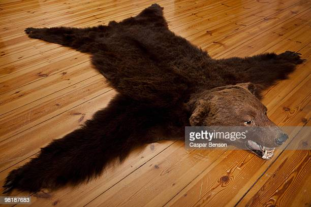 A bear skin rug on wooden floorboards