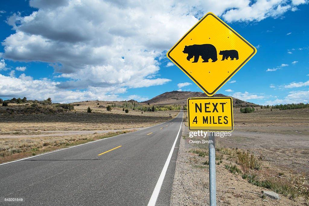 Bear warning sign on roadside, Alpine County, California, USA