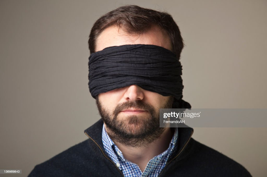 Blindfolded man portrait