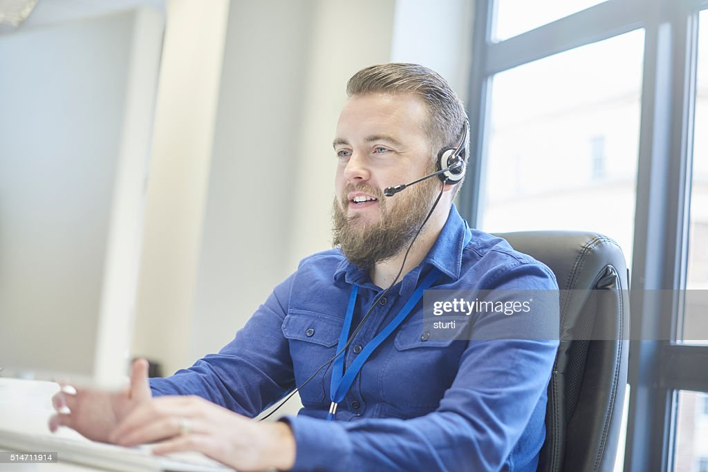 bearded customer service rep : Stock Photo