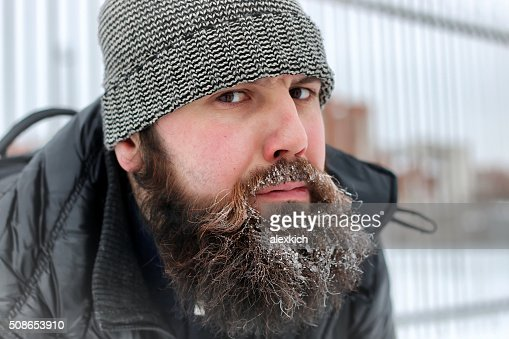bearded man hat winter : Stock Photo