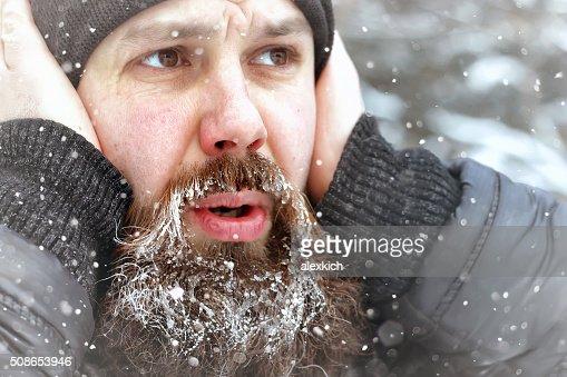 bearded man ice snow winter : Stock Photo