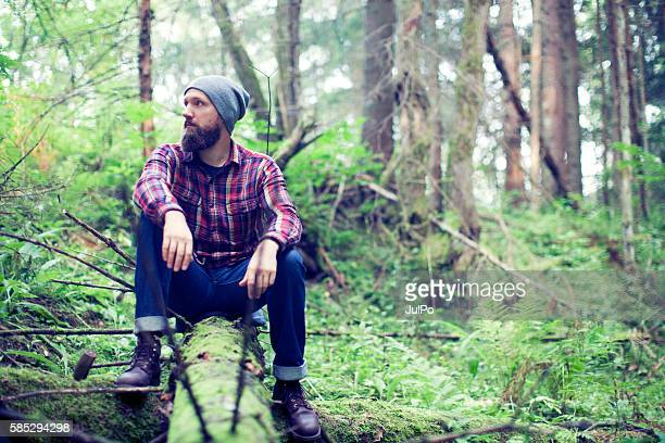 Bearded man in forest