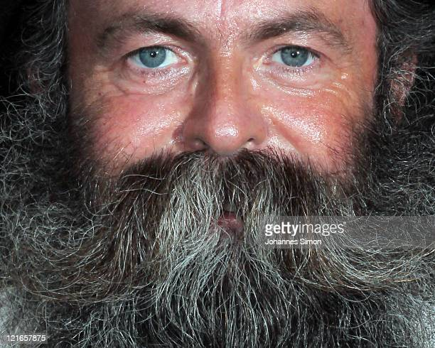 A bearded man poses ahead of the 26th International Alpine Beard Competition on August 21 2011 in Chur Switzerland Participants from Switzerland...