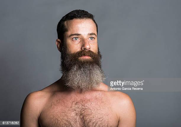 Bearded man posing