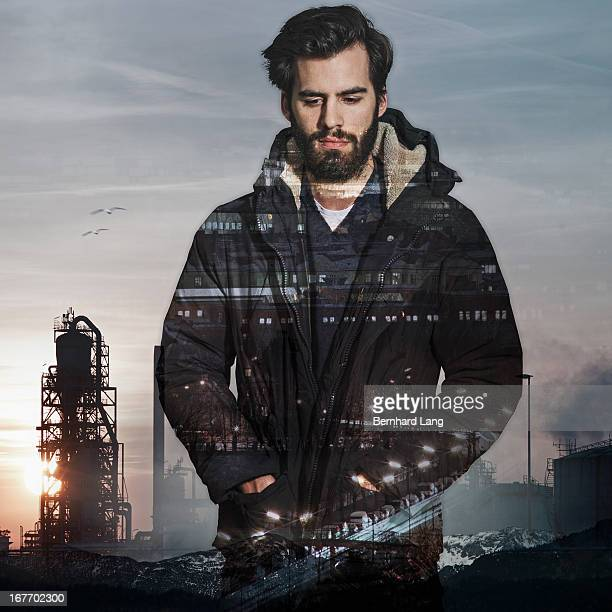 Bearded man standing in industrial aera