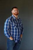 Bearded Man Standing Studio