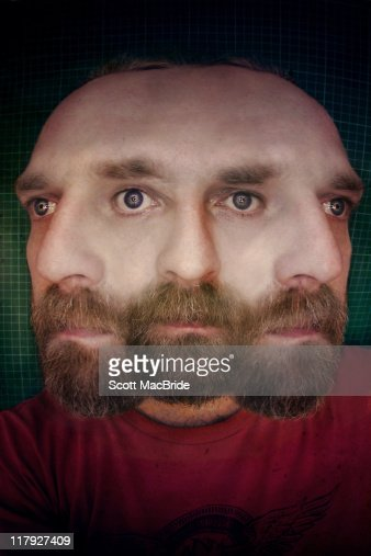Bearded man with 3 faces : Stock Photo
